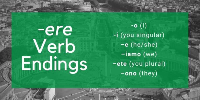 Italian conjugation ere verbs