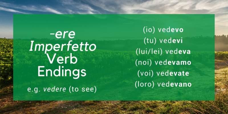 italian imperfect tense -ere verbs