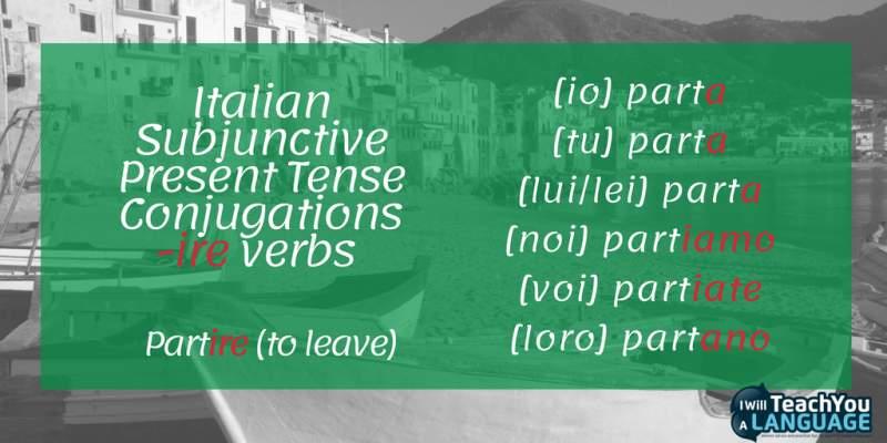 Italian subjunctive ire verbs
