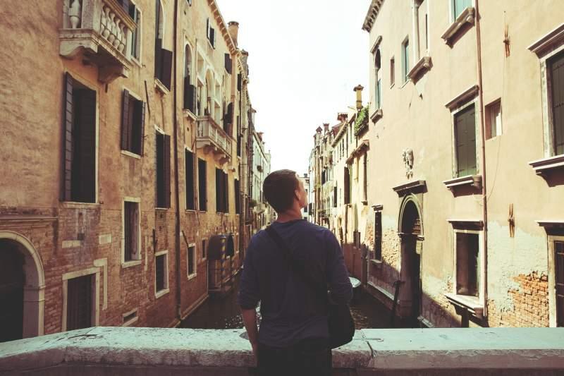 man visiting Venice