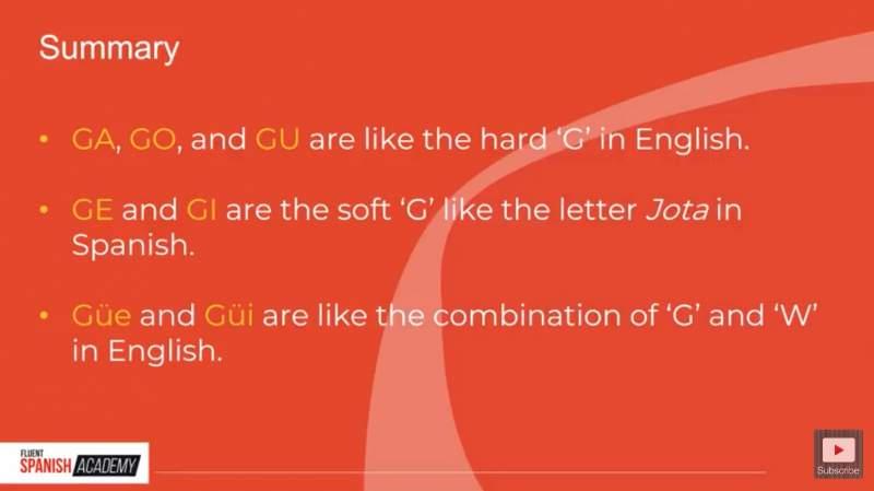summary of Spanish G pronunciation rules