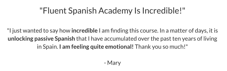 Mary Fluent Spanish Academy testimonial