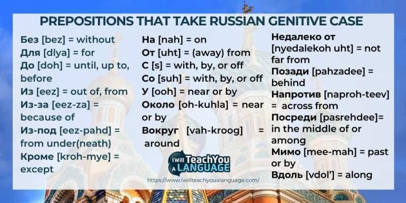 Russian genitive case prepositions